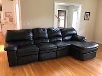 Black leather sectional sofa with recliner  Tolland, 06084