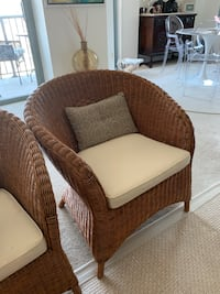 Brown wicker armchair with cushion Bethesda, 20814