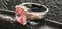 .925 Sterling Silver Ring - Natural Pink Kunzite with 4 White Topaz. Springfield, 22150