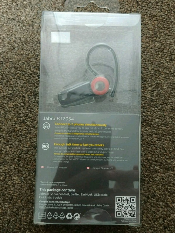 black and red Jabra BT2054 Bluetooth mono headset with pack