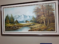 forest near mountain painting with frame