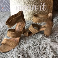 pair of brown leather open-toe heeled sandals Orlando, 32839