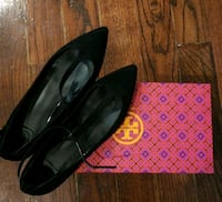pair of black leather pointed-toe flats New York