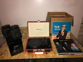 Record player, records, speakers