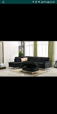 black fabric sectional sofa with ottoman 1297 mi