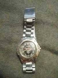 round silver analog watch with link bracelet Red Deer, T4N 4L5