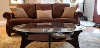 Leather Couch + Glass Living Room Tables Tewksbury, 01876