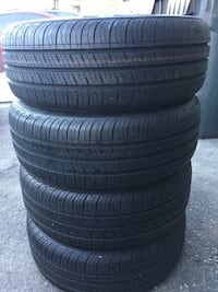 Four black auto tire set size  [PHONE NUMBER HIDDEN] % tread left  Brampton, L6R 3M6