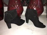 Pair of black chunky heeled open-toe mid-cut boots