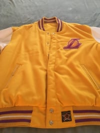 Los Angeles Lakers Vintage (1986) JH Designs Reversible Leather and Wool Jacket ALEXANDRIA