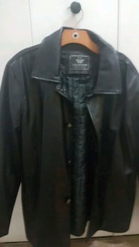 black leather collared button-up jacket