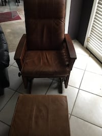 Rocking chair wooden framed  leather padded armchair San Marcos