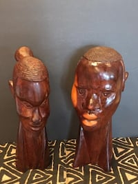 Vintage Hand Carved Wooden Male and Female Tribal Head Statues  Lansdowne
