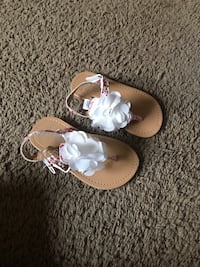 white and pink floral leather sandals District Heights, 20747
