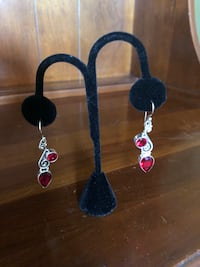 Garnet pierced earrings in sterling silver Hyattsville, 20783