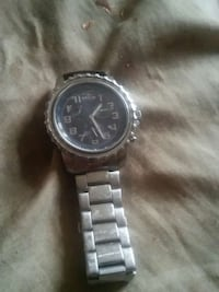 round silver and black chronograph watch with silver link strap Toledo, 43604
