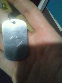 Silver dog tag heart engraving Calgary