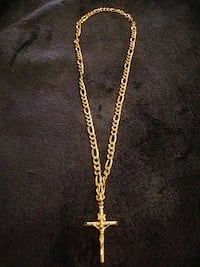Gold plated necklace with real 14K gold Cross 10.5 Bothell, 98012