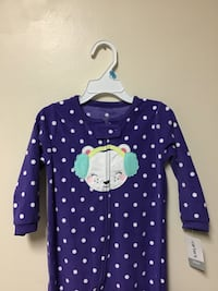 Girls CARTERS Full zip footed sleepers...Size 24 months