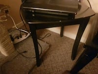 black wooden 2-drawer end table