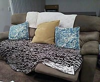 brown suede 3-seat sofa with throw pillows and blanket Corona, 92882
