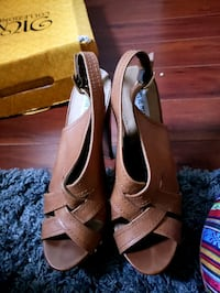 pair of brown leather open toe ankle strap heels Fort Washington, 20744