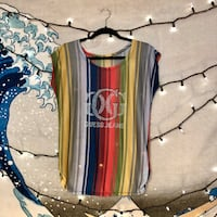 Guess Multicolored Striped Top w/Rhinestone Guess Jeans Logo Size M/L San Diego, 92107