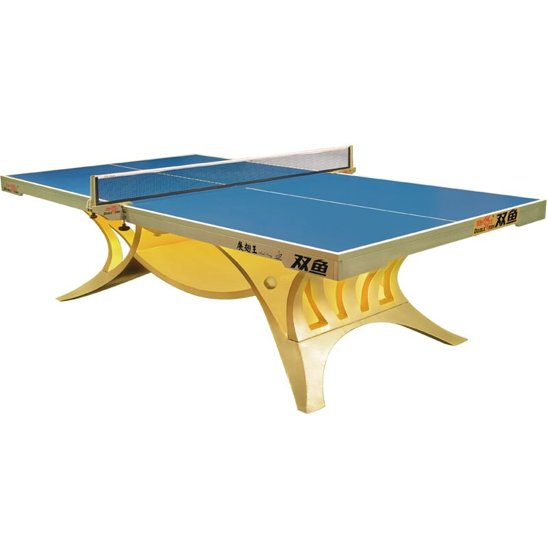 Blue and yellow pool table