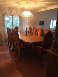 rectangular brown wooden table with six chairs dining set 3156 km