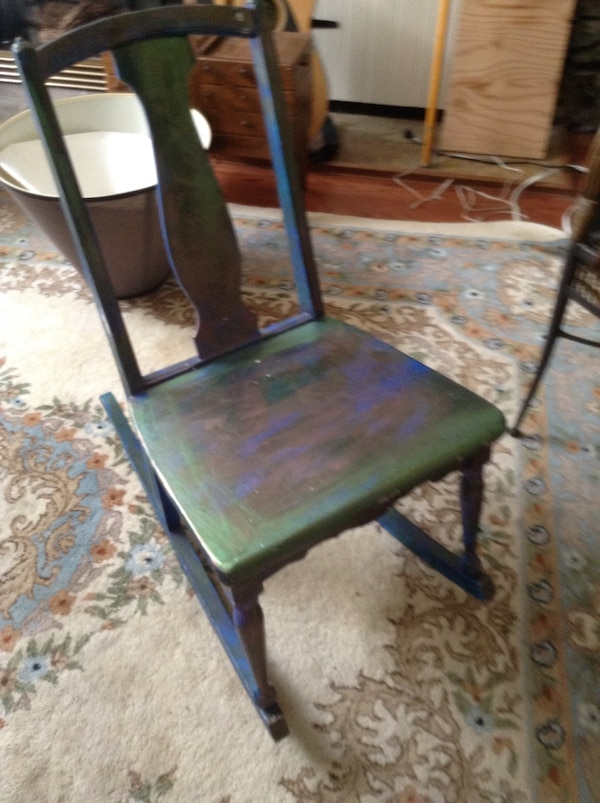 green and brown wooden chair