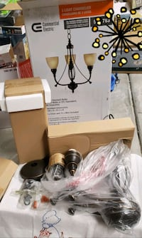 3-Light Bronze Chandelier with Tea Stained Glass S North Las Vegas, 89084