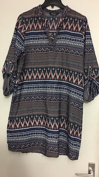 blue and black tribal printed long-sleeve dress