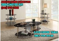 clear glass top 3-pcs coffee table