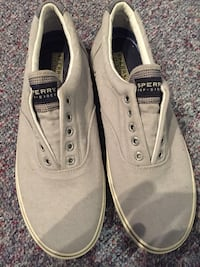 Grey and black sperry low tops