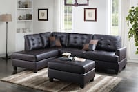 Bobkona Faux leather Reversible Chaise Sectional In Espresso