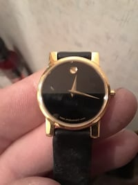 round gold analog watch with black leather strap Paso Robles, 93446