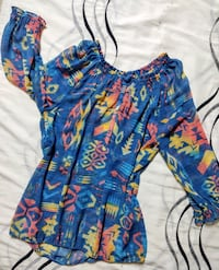 CHICO'S SIZE 0 SHEER BLOUSE WITH BRIGHT SOUTH WESTERN  SHADES