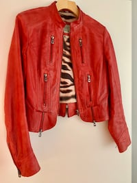 Bright Red leather jacket  Lightly used Size S Vancouver, V6B 0A2