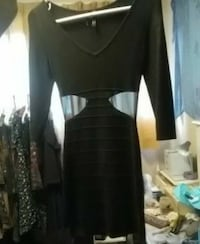Black guess dress with mesh side slits