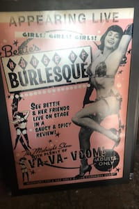 Bettie Page burlesque ad poster framed Las Vegas, 89108
