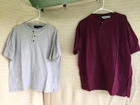 2 Henley shirts - men's size Large Hudson, 34669