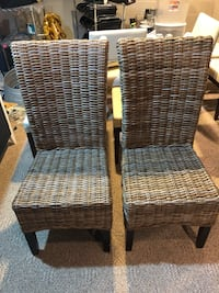 Rattan Dinning Chair with Espresso Wood Leg (Lot of 2) Holland, 49423