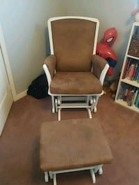brown wooden framed gray padded glider chair Brampton, L7A 3P6