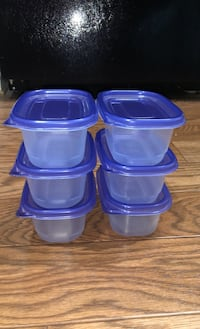 "6 Little plastic storage containers 5""x3"""