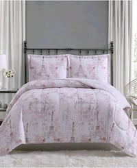 white and gray floral bed sheet set 20 mi