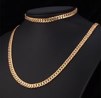 18k gold filled stamps and titanium necklace and bracelet. 24&28 inches long chain