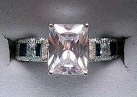 Sterling silver luxury sapphire and emerald cut diamond
