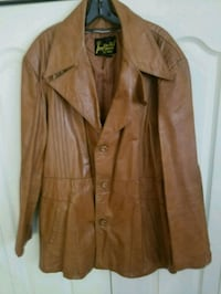 brown leather button-up jacket 763 mi