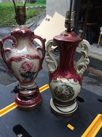 two red and white floral ceramic table lamps Montréal, H4V 2G3