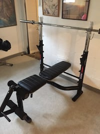 Marcy Pro 2 Olympic Bench. In great condition. Incline, decline and flat. (5 position bench) adjustable rack height with bar safety catches. Also has leg developer!